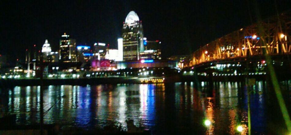 Cincinnati Ohio Ohio River Water City City Life Night View Reflection Lights First Eyeem Photo EyeEmNewHere Adapted To The City