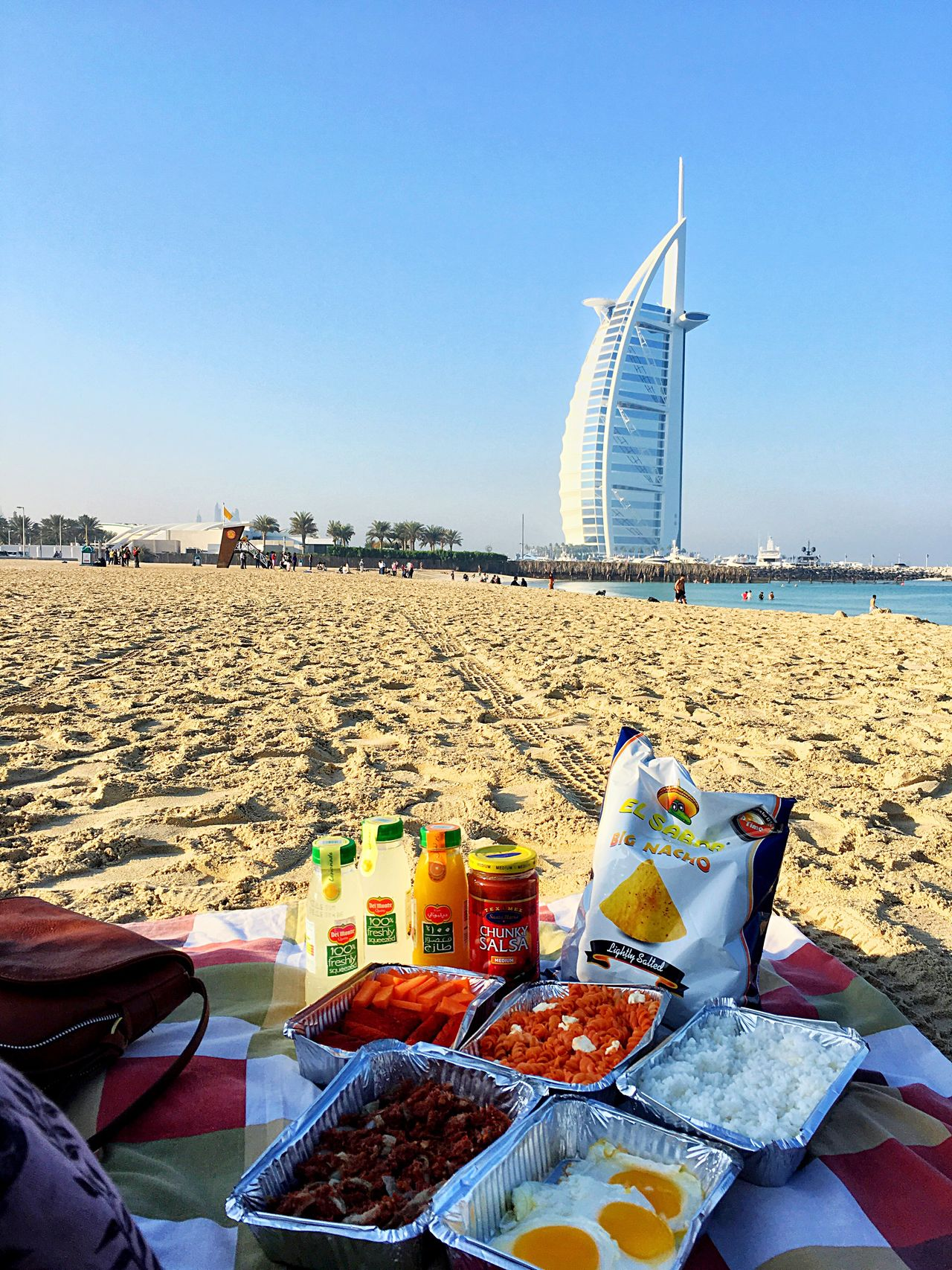 Picnic time.😍☀️ Clear Sky Water Picnic Picnic Time ♡ Outdoors Beauty In Nature Beach Enjoying Life Enjoying The Sun Enjoying The View City Travel Destinations Sky Sunlight Sea Built Structure Cityscape Nature Vacations Day