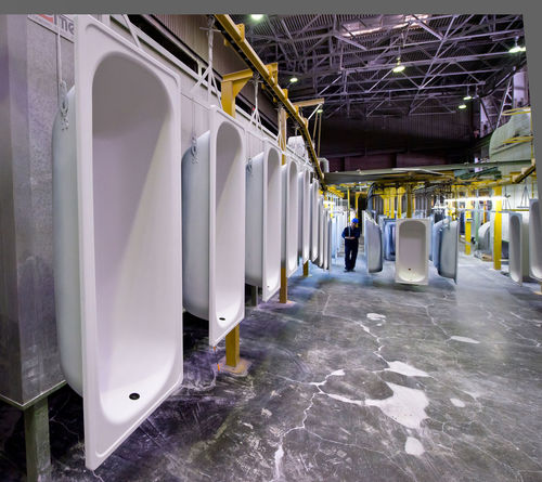 Russia, Yekaterinburg, Upper Iset plant, painting line baths Absence Corridor Day Diminishing Perspective Empty In A Row Narrow No People Russia, Yekaterinburg, Upper Iset Plant, Painting Line Baths The Way Forward