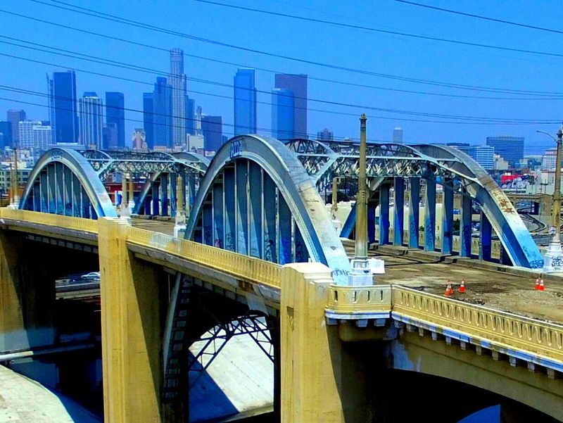 DowntownLA 6thstreetbridge Grease No People High Angle View Calikid Connection Enjoying Life Hello World Road Check This Out Cityofangles Downtown Los Angeles City Life Architecture Travel Cityscape Staygolden Day Horizon Famous Place California Dreaming California Transportation Scenics