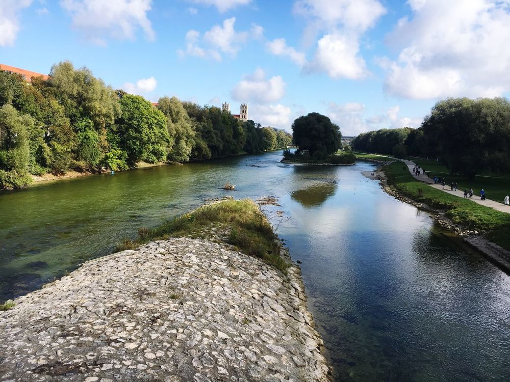 Water Tree Nature Sky Beauty In Nature Outdoors Day No People River Isar Munich