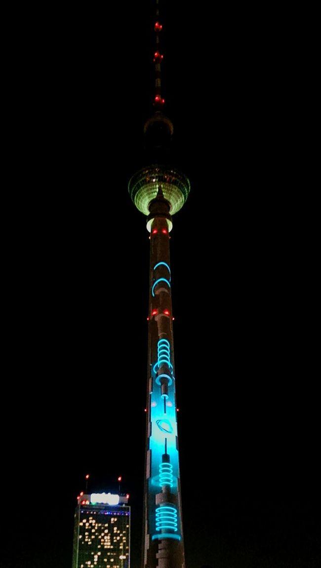 Festival Of Lights 2016 Berlin TV Tower Illuminated Multi Colored Night Lichtshow