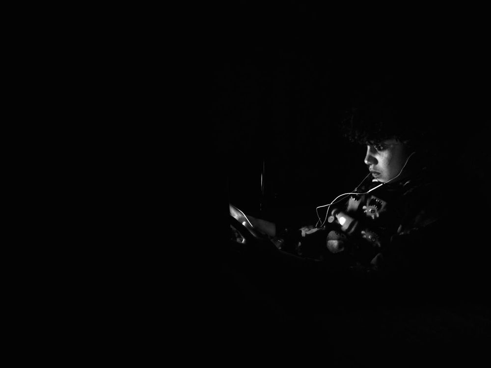 Playing Games IPad Time Kid Black & White Bedtime