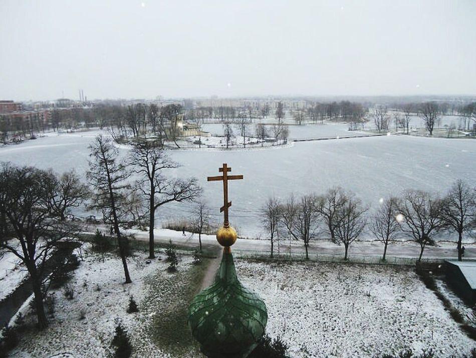 Петергоф, Санкт-Петербургский пр. вид на Ольгин пруд