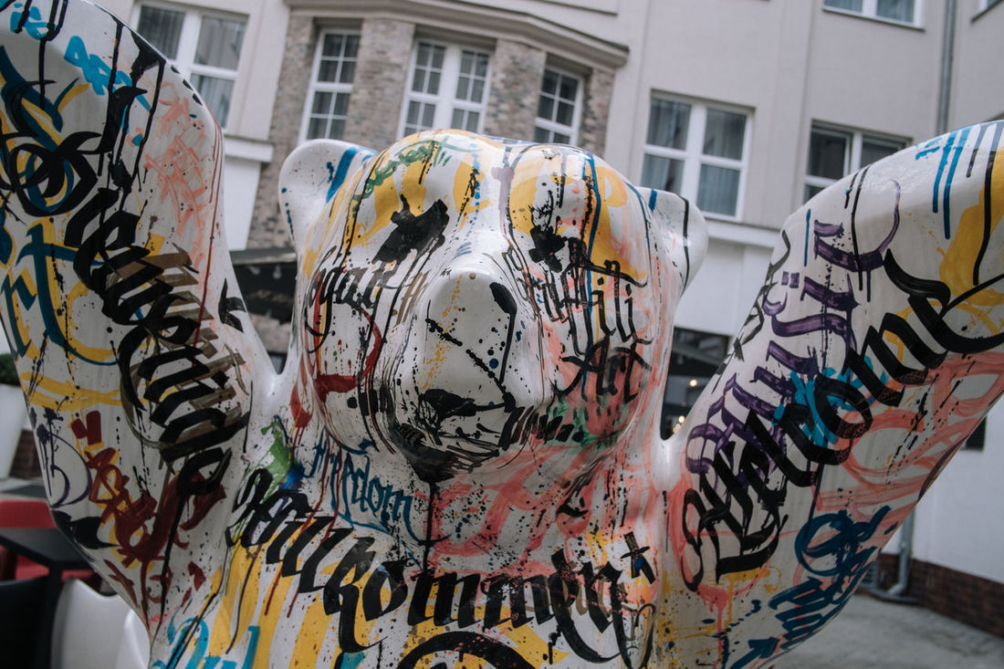 Berlin Animal Representation Architecture Art And Craft Bear Berlin Bear Building Exterior Built Structure Close-up Creativity Day Graffiti Multi Colored No People Outdoors Street Art