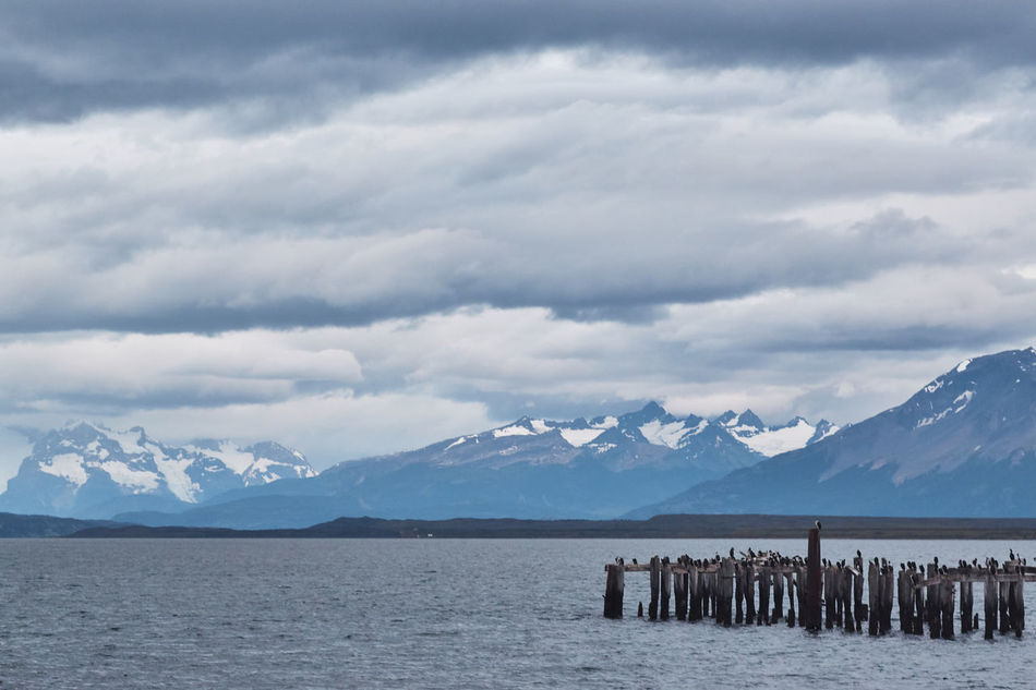 Beauty In Nature Chile Cloud - Sky Cold Temperature Day Mountain Mountain Range Nature No People Outdoors Patagonia Puerto Natales Scenics Sea Sky Snow Tranquil Scene Tranquility Water Weather Winter