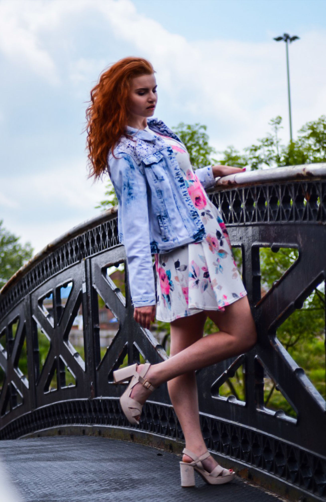 Redhead Long Hair Casual Clothing Fashion Full Length Bridge - Man Made Structure Beautiful Woman Leisure Activity Outdoors Well-dressed Standing Model Life Inspirations Desinger Dress Code Fashion Model Glamour Shots Magazine Lifestyles Green Color Glamour Fashion Beauty Sky And Clouds Bridge