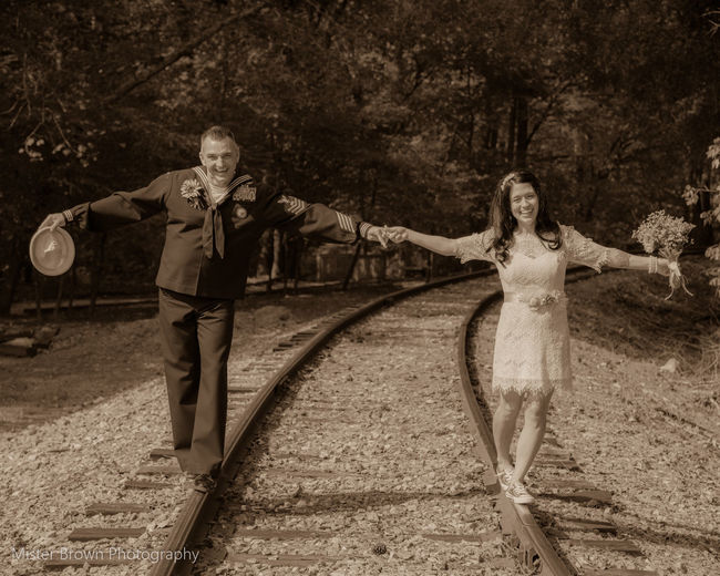 On the rails Adult Adults Only Cheerful Day Full Length Happiness Lifestyles Macro Marriage Ceremony Men Outdoors People Portrait Smiling Standing Togetherness Tree Two People Women Young Adult Young Women