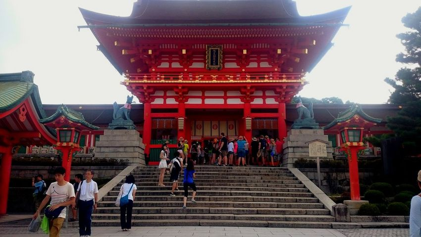 A Temple in Japan Cultures Architecture Built Structure Red Travel Destinations City History Men Business Finance And Industry People Building Exterior Outdoors Adult Day Large Group Of People Adults Only Sky Only Men