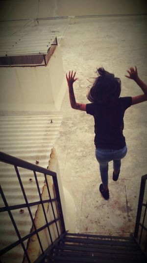 Take a leap of faith Jumping Full Length Young Adult Faith Anxious  Arms Raised Day Fiercebeauty Hair Flowing