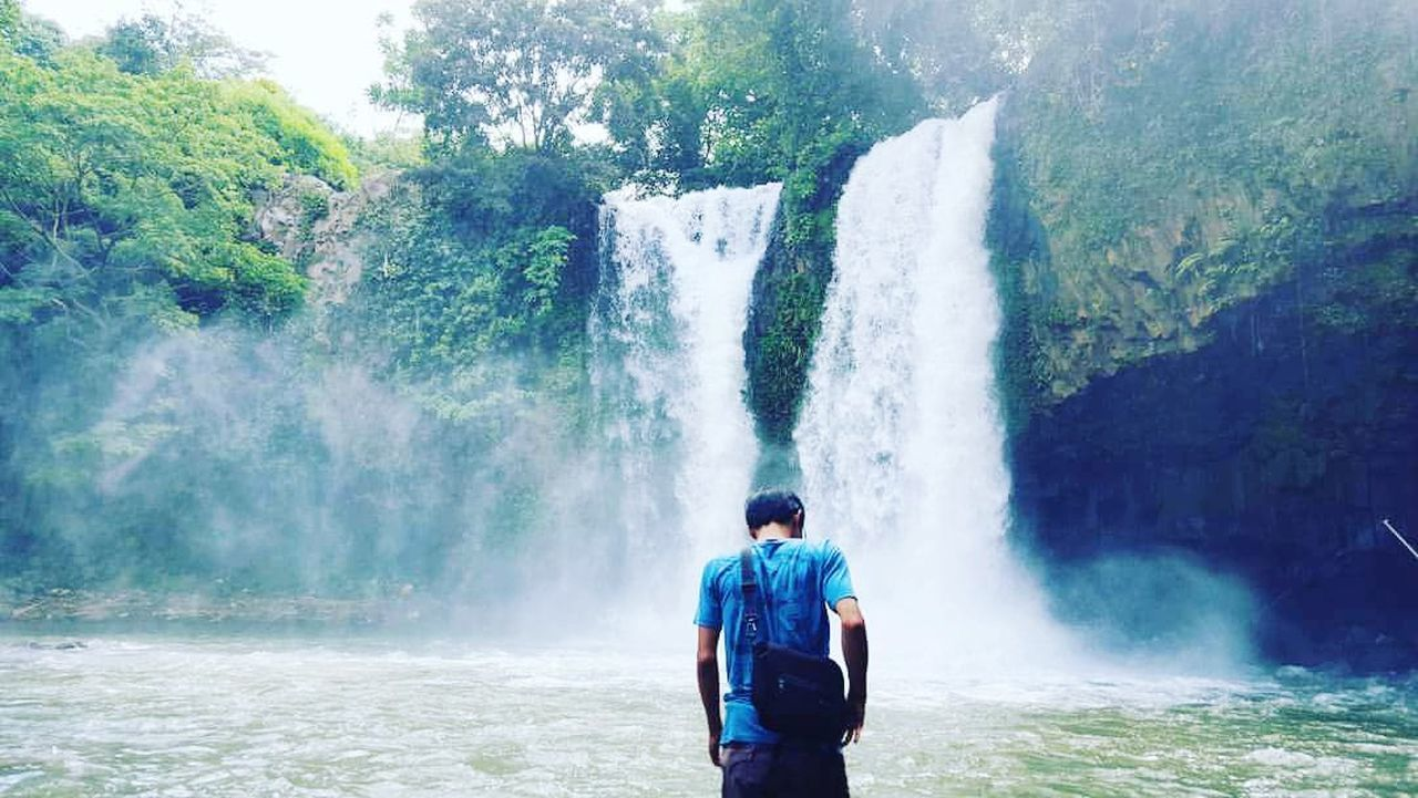 Water Only Men One Person Waterfall Day Splashing Refreshment Outdoors Men Beauty In Nature Green Color Alone Time Beauty In Nature Wonderful Nature Wonderfulwaterfall wonderful Wonderfulindonesia