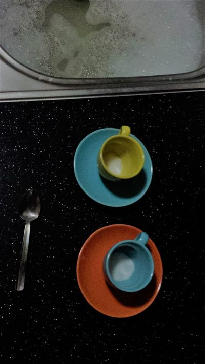 After Coffee Close-up Espresso High Angle View Indoors  Kitchen No People Spoon Washing Up