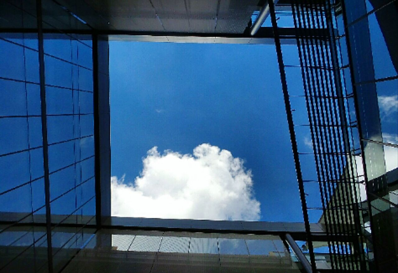 architecture, built structure, window, low angle view, no people, day, sky, blue, building exterior, indoors