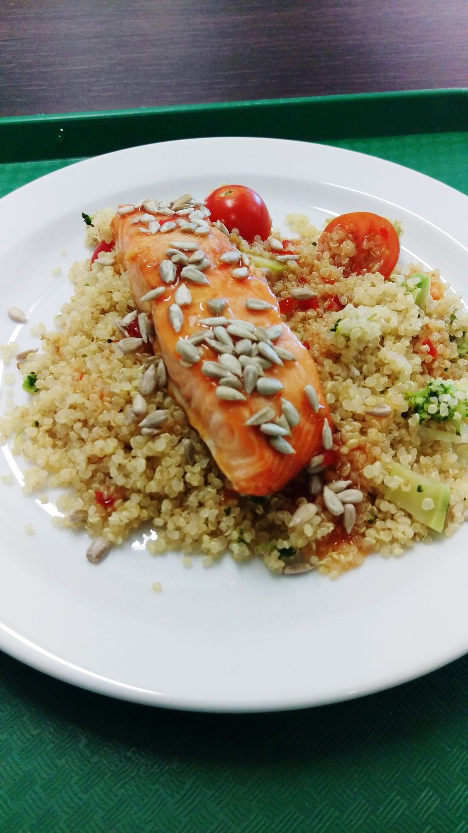 Plate Ready-to-eat Food Close-up No People Freshness Food And Drink Serving Size Meal Table Indoors  Fried Rice Salmondish Salmon Dinner Salmon Dish Healthy Eating Seeds Seeds, Nutrition, Food, Health, Healthy, Oil, Sunflower Oil