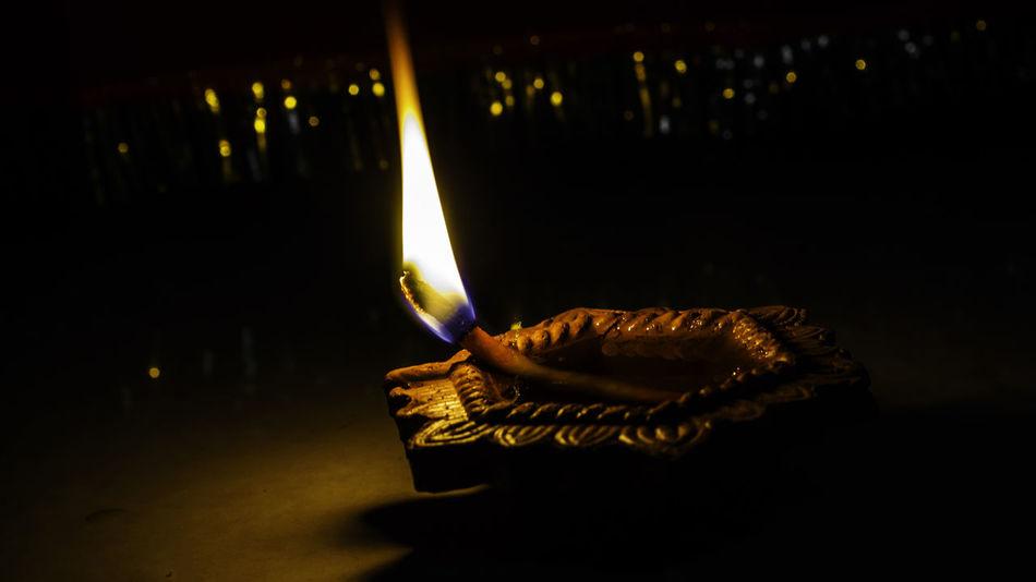 Happy Diwali #festival Of Lights #happydiwali Burning Close-up Cultures Diwali Diya - Oil Lamp Flame Glowing Heat - Temperature Igniting Illuminated Indoors  Night No People Oil Lamp