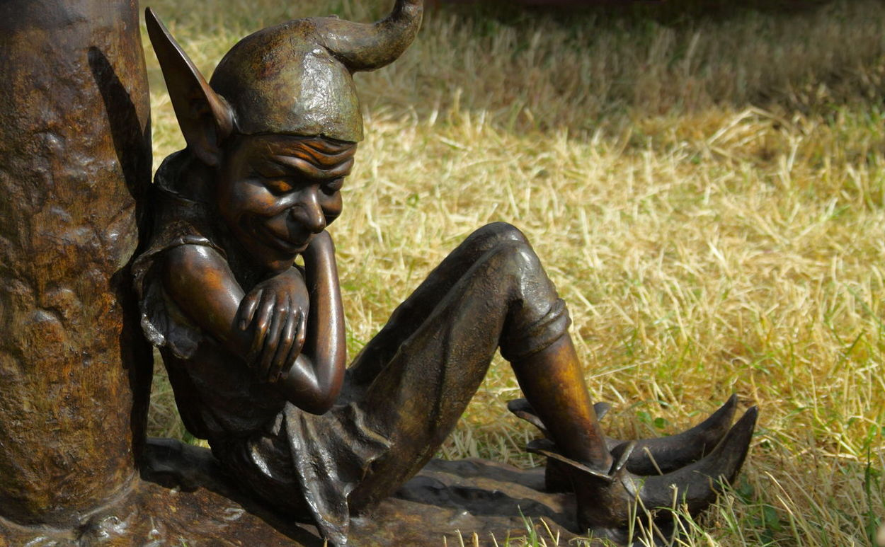 'Watch Out...' Bronze Goblin Long Nose Mischievous Nasty Pointed Ears. Pointy Ears Statue Waiting Wicked