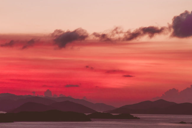 Atmosphere Atmospheric Mood Beach Caribbean Cloudscape Dramatic Sky Horizon Over Water Island Majestic Outdoors Red Color Remote Sea Silhouette Sky Sunset Tranquil Scene Tropical Virgin Gorda