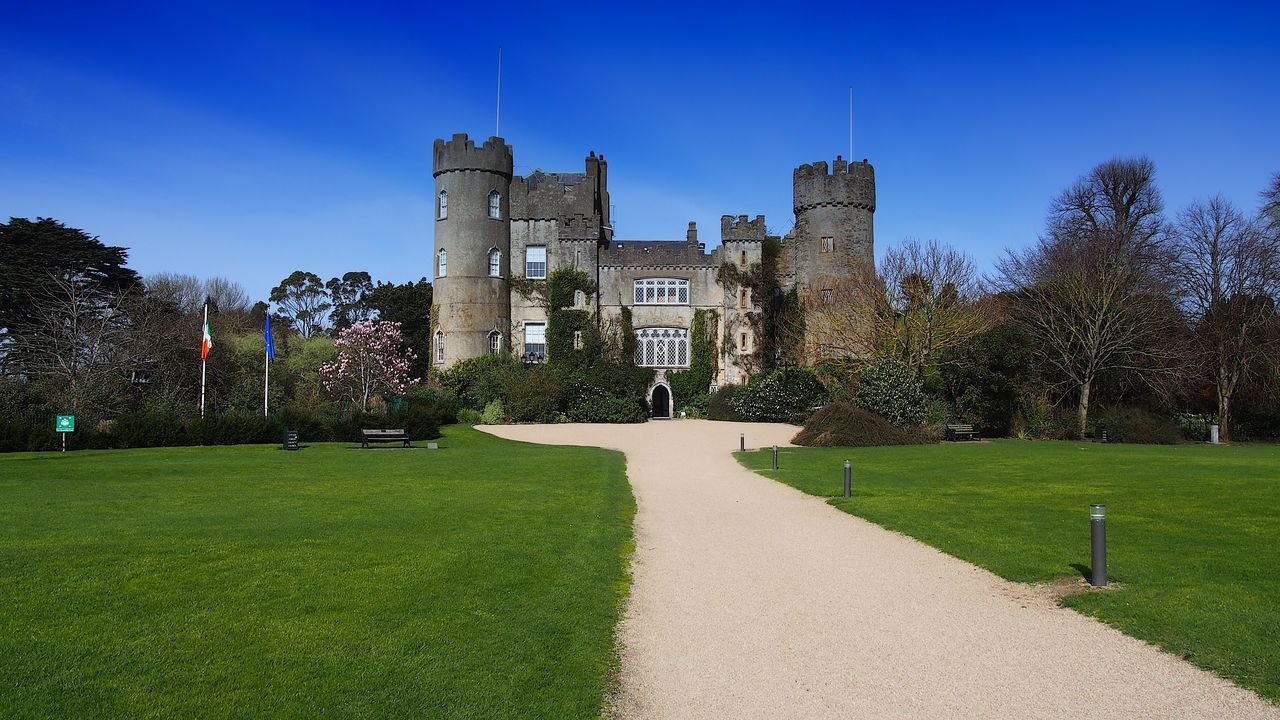 architecture, history, grass, built structure, day, castle, tree, outdoors, nature, no people, building exterior, clear sky, sky
