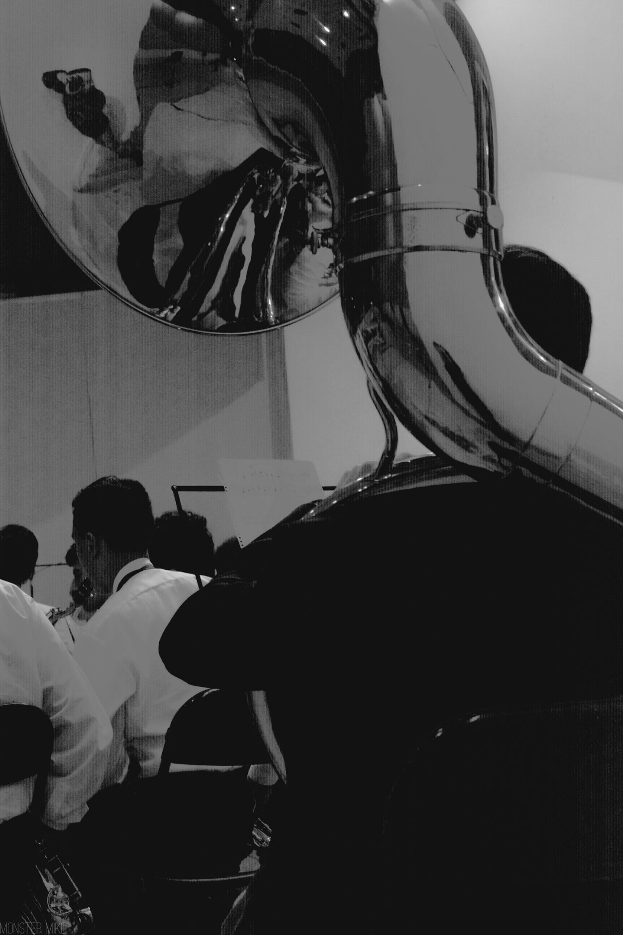 Music Musician Live Music Musica Photographer Reflection Tuba Black And White Blackandwhite Black & White Black&white Blackandwhite Photography Monochrome