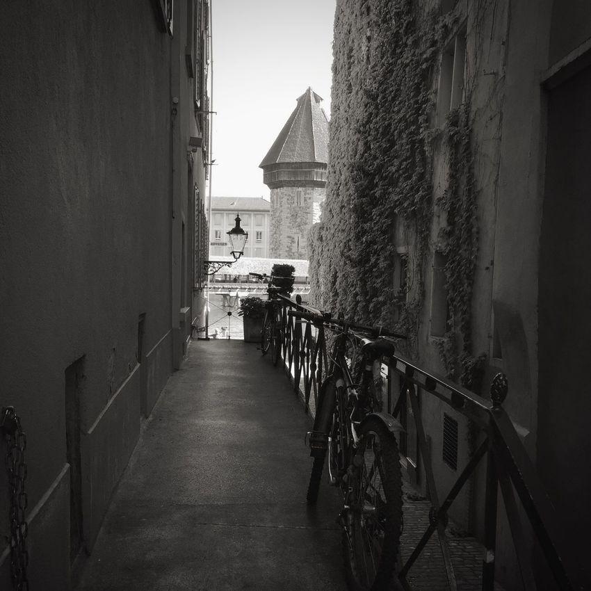 Bicycle Blackandwhite Lucerne TheChapelBridge Watertower Traveling Taking Photos Switzerland Streetphotography The Traveler - 2015 EyeEm Awards Black And White Black & White Europe