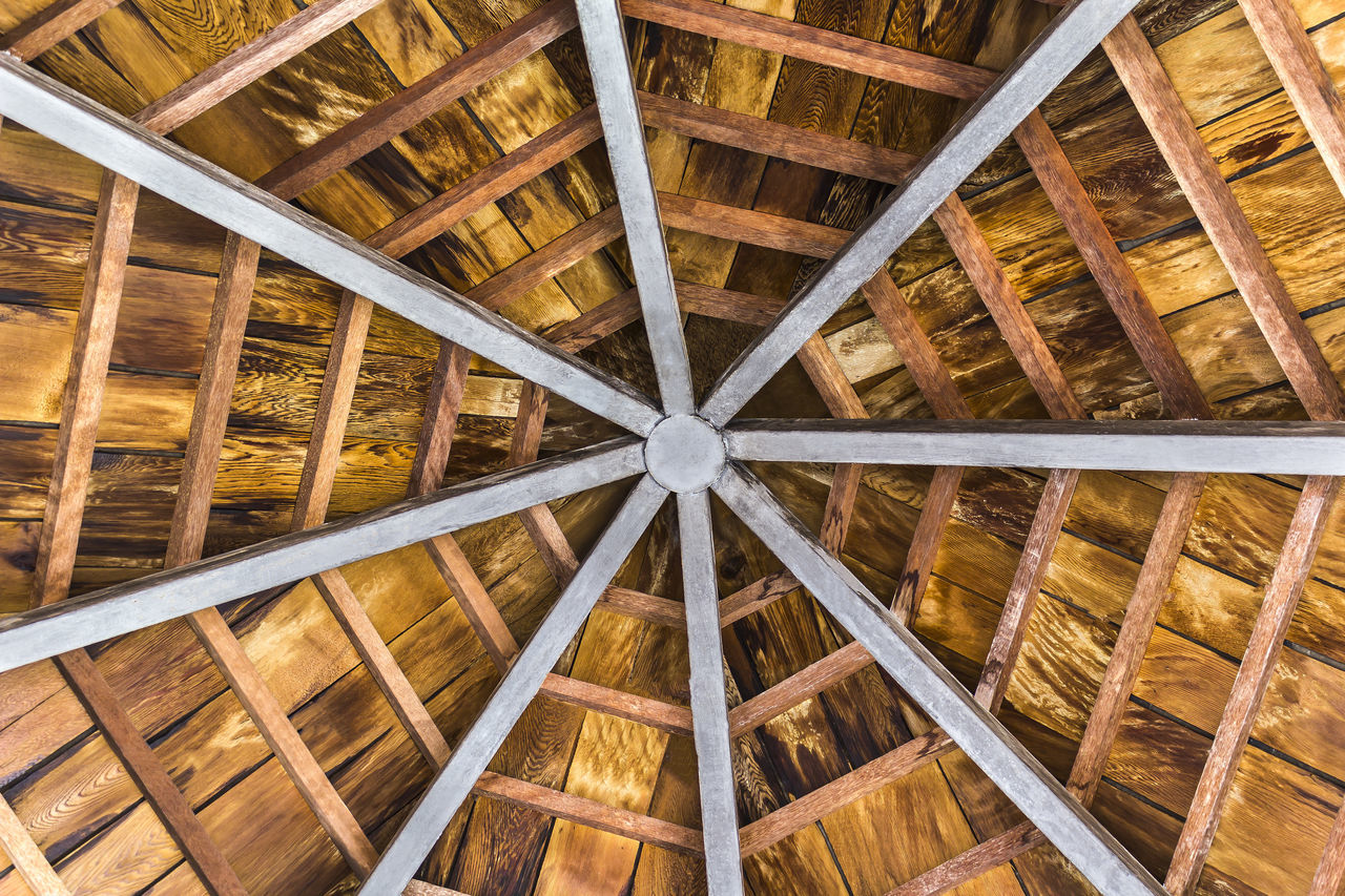 Wooden and steel beam octagon of gazebo ceiling Architecture Beam Building Built Structure Ceiling Construction Design Gazebo Interior Octagon Pattern Roof Roof Beam Shelter Structure SUPPORT Timber Wood - Material Woodwork