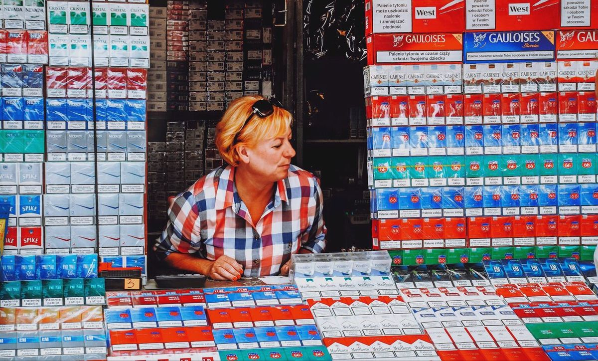 - A BLOUSE MADE OF CIGARETTE BOXES - Everything In Its Place Store Cigarette  Sorted Woman Kiosk Sale Sales Smoking Photo Photography Streetphotography Street Photography Outside City Life Urban Lifestyle Selling Showcase March