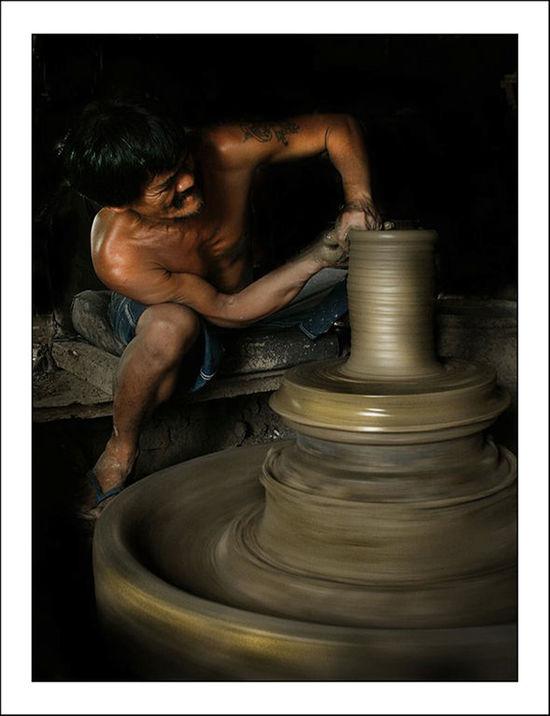 Clay Sculpture Joel Yonzon Lights And Shadows Man Pot Tattoo Vigan Philippines Work Worker