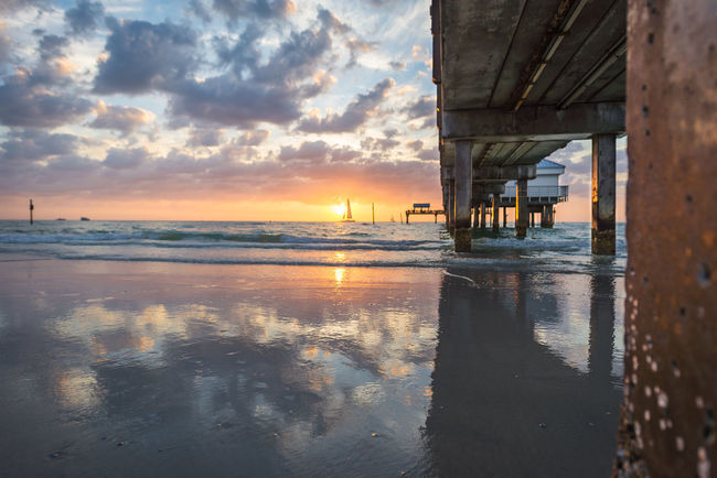 Architecture Beach Beauty In Nature Built Structure Cloud Cloud - Sky Horizon Over Water Nature Pier Reflection Sand Scenics Sea Shore Sky Sunset Tranquil Scene Tranquility Water