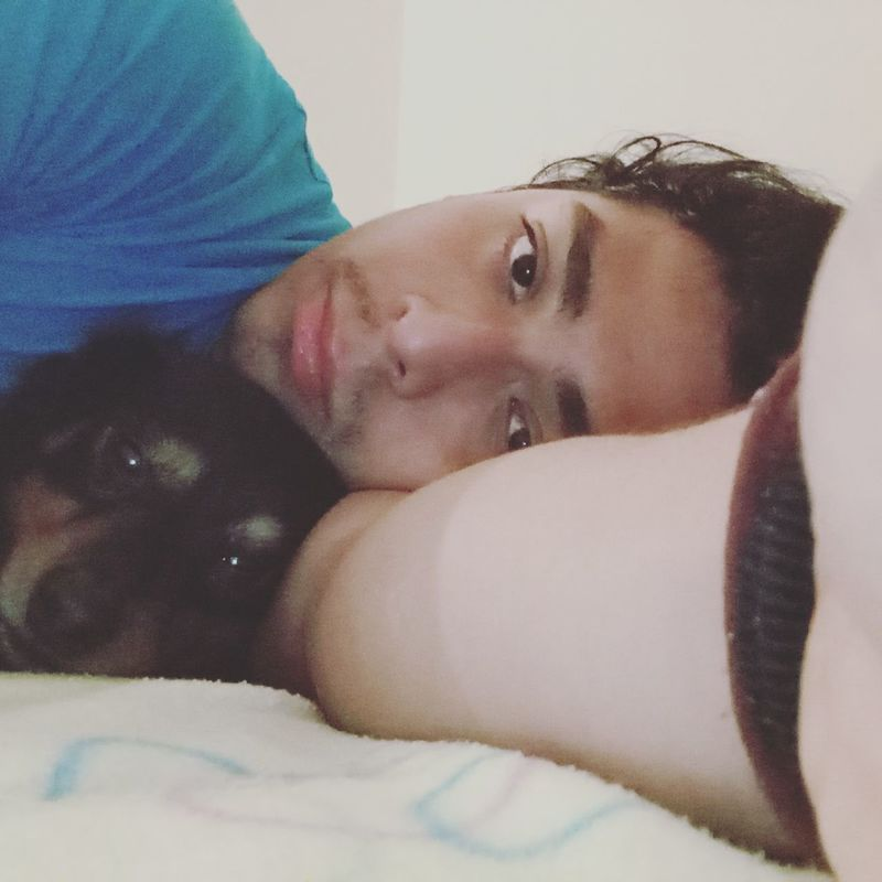 One Person Relaxation Day Bedroom Indoors  With My Dog ^^ With My Dog With Charlie My Dog Adult