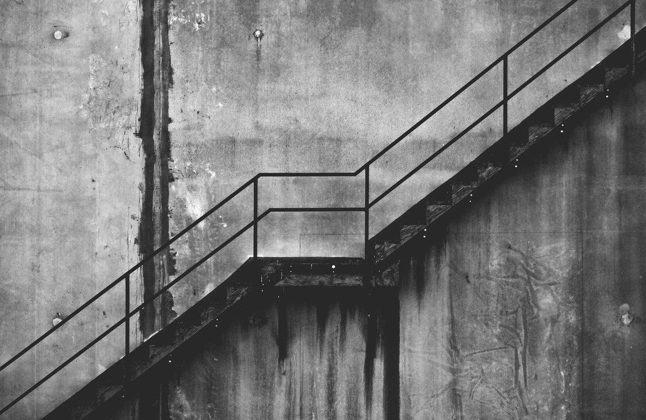 Railing Built Structure Architecture Steps And Staircases No People Staircase Low Angle View Stairway To Heaven Going Up Staircases Stairway Stairs Stairways Stairs_collection Concrete Wall Concrete Industry Factory Stair Concrete Jungle B&w