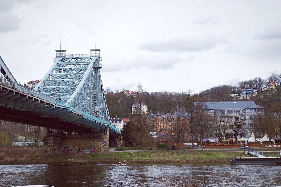 Dresden '16 Bridge Blue River Water Cloudy Blaueswunder Dresden Germany Neustadt Architecture