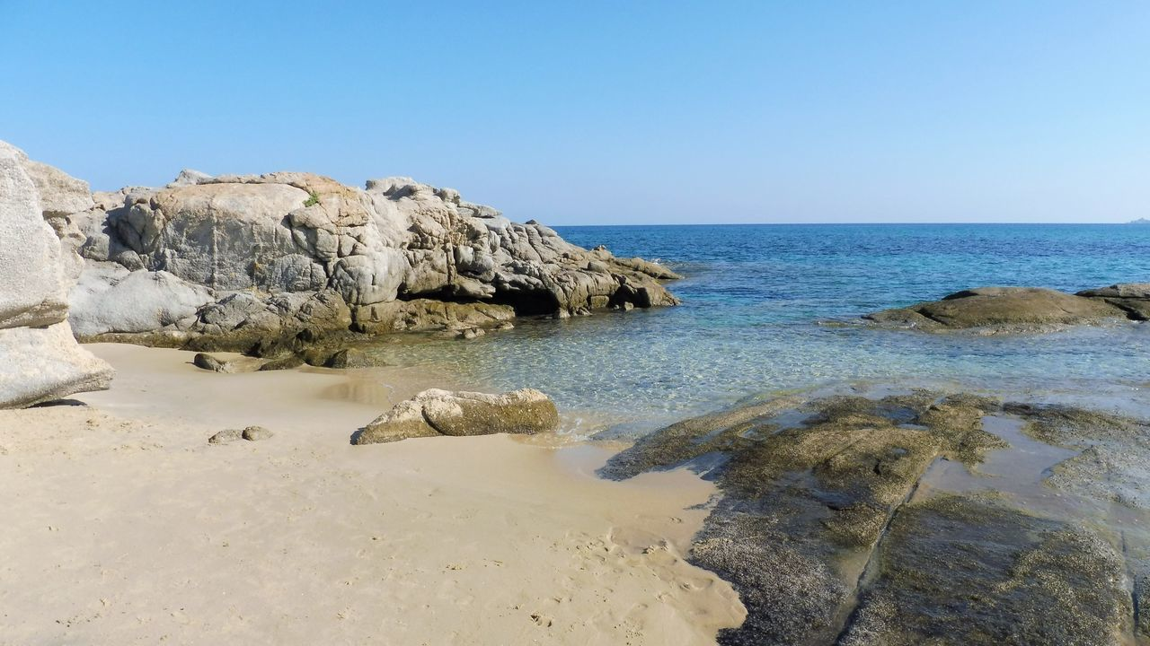sea, nature, water, clear sky, scenics, rock - object, beauty in nature, horizon over water, tranquil scene, tranquility, beach, no people, outdoors, day, blue, sky