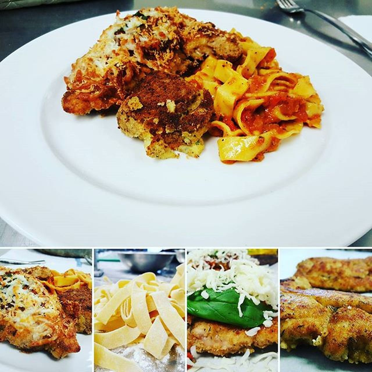 ♡Chicken parm♡ ♧fettuccine tomato sauce and on side potatoes♧ Chickenparm Chicken Tomato Basil Cheese Plate Calinary Rich Taste Yummy