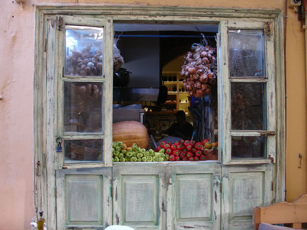 Arrangement Display Freshness Fruit Photography Greece, Crete Old-fashioned Rustic Shop Window Walking Around The City  Vegetables Pumpkin Harvest Time Idyllic Shopwindow