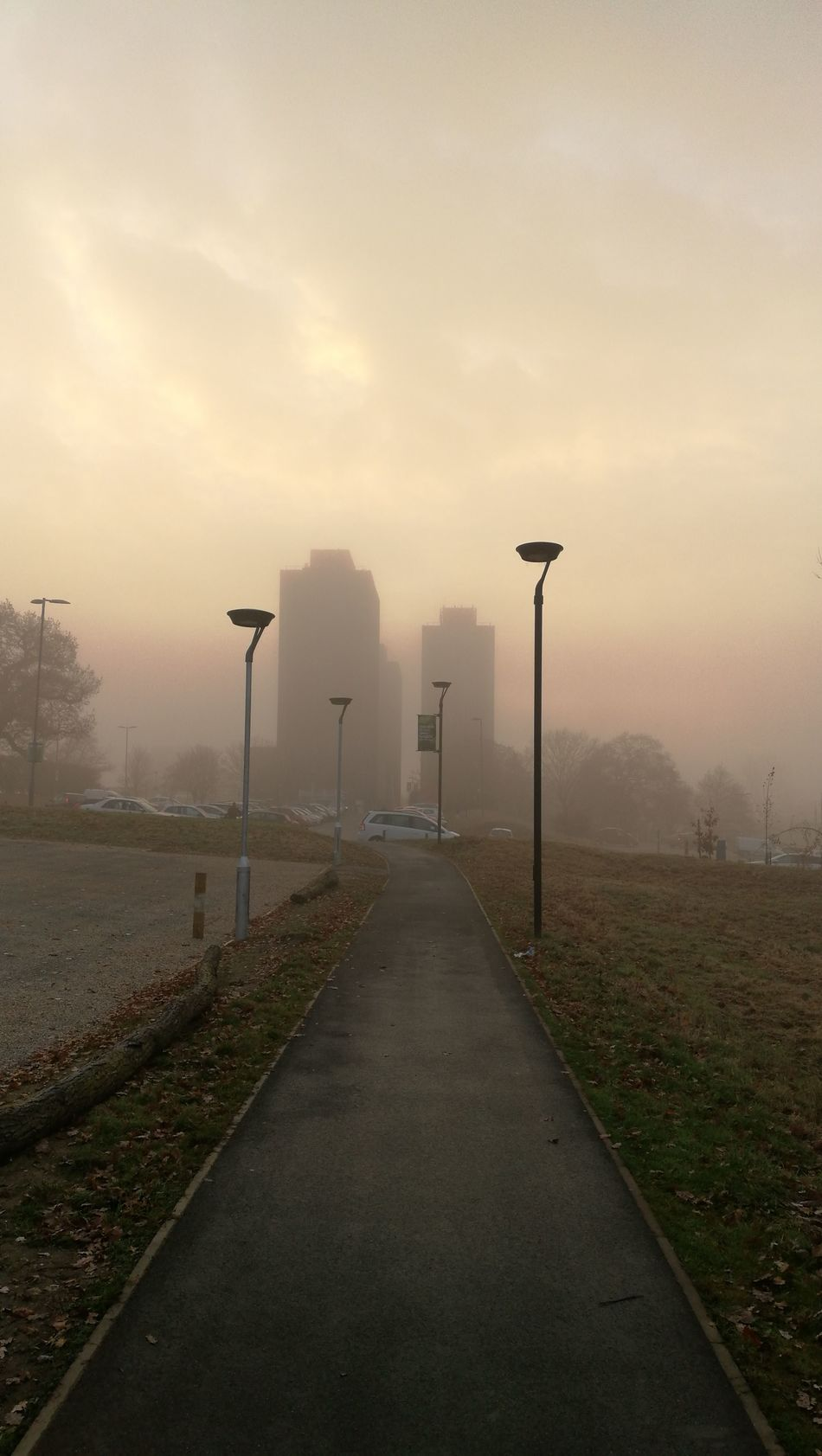 Fog Morning Street Light Outdoors Towers And Sky