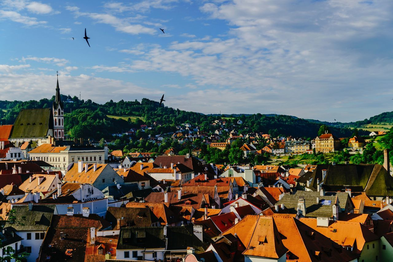 Morning CK TOWN My Street Photography My Traveling Photography Architecture Building Exterior Roof Residential Building Old Town Sky Rooftop Flying Bird Nautical Vessel Human Settlement Urban Exploration From My Point Of View Beauty In Nature Czech Republic