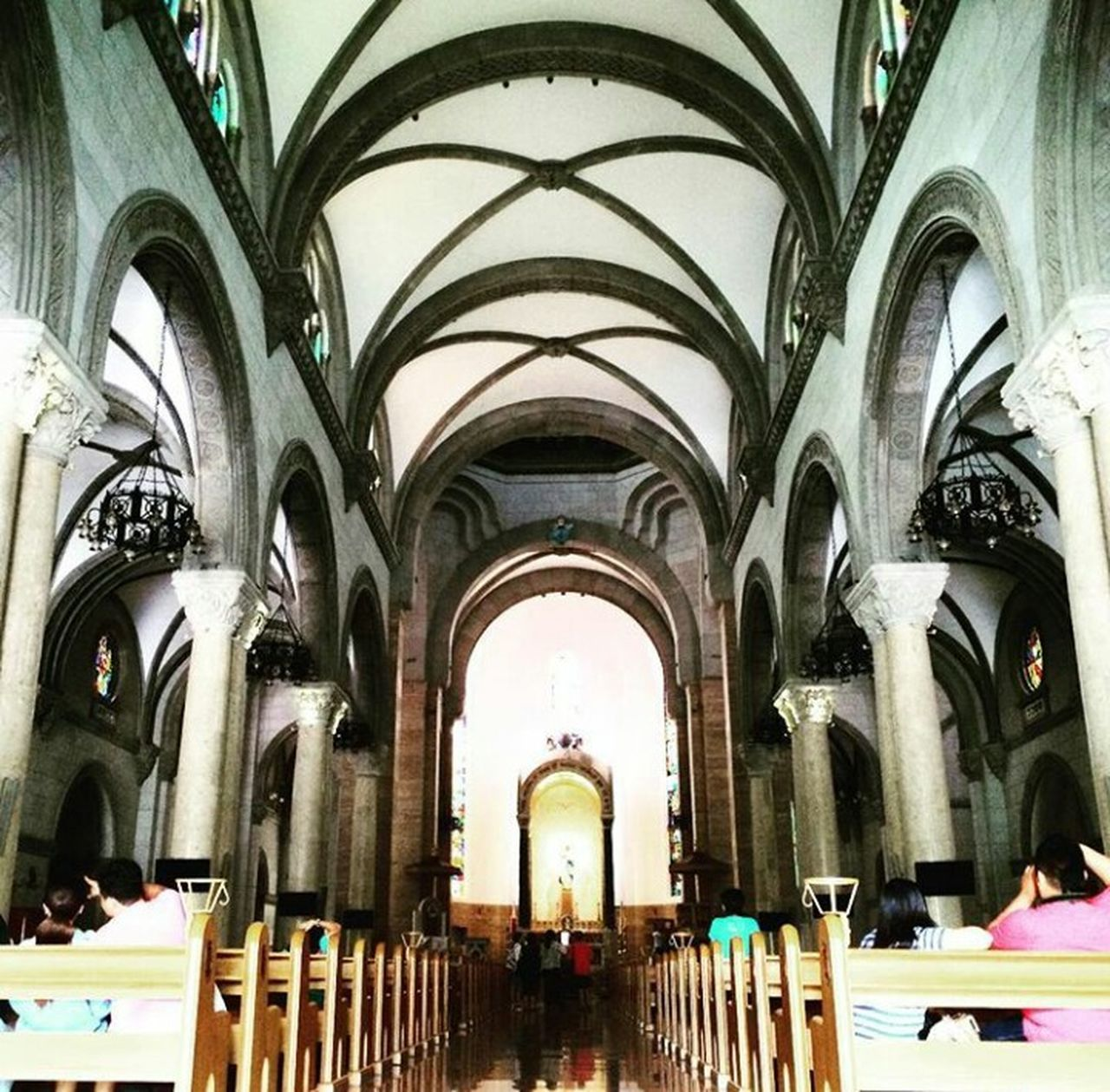 Manila Cathedral Church Old Century Arch Architecture Design Intricate Detailed Echo Ceiling Wood Altar Chair Brown Spaniard Colonization X Cross Structure Structural High Ceiling Confession Quiet ContentmentPrayer