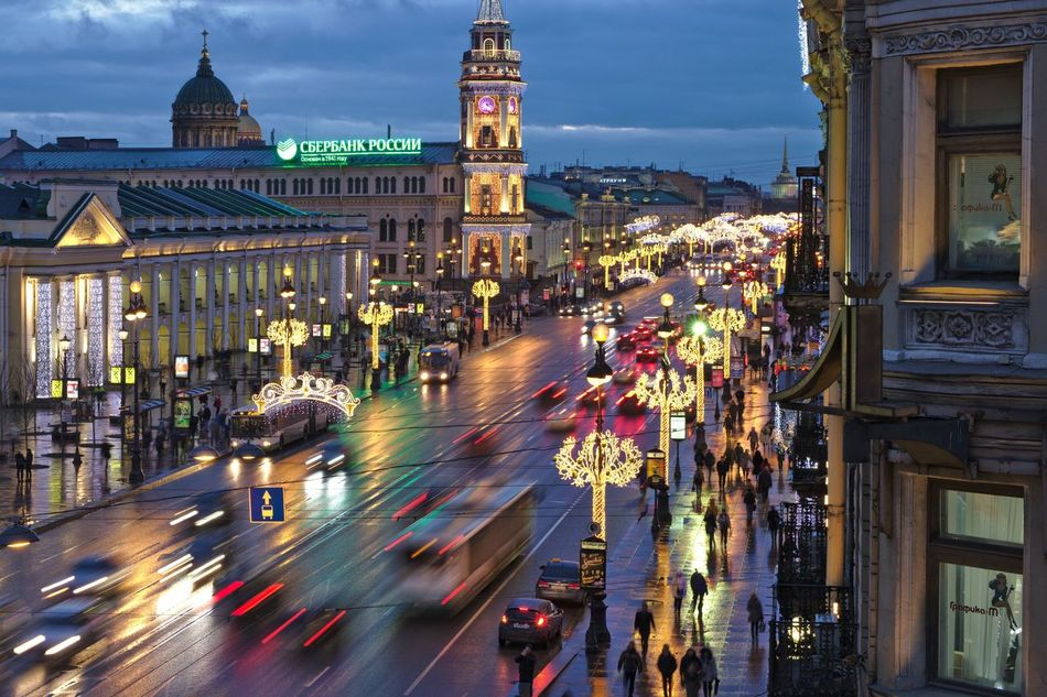 Nevsky Prospect, decorated to New Year. Blurred Motion Capital Cities  Christmas Lights City City Street Decoration Garlands Illuminated Nevsky Prospect New Year Prospect Saint Petersburg Street Street Light Top Perspective Twilight