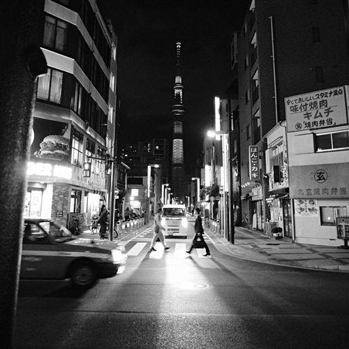 Tokyo Sky Tree Street A Day Of Tokyo : Streetphoto_bw B&w Street Photography Nightphotography Illumination Against The Light One Shot Wonder Showcase: November Japan Scenery / Panasonic Lumix GX1 LUMIX G VARIO 14-45/F3.5-5.6 Handheld 28mm Inspired By Music EGO-WRAPPIN' / BRIGHT TIME Walking Around The City  Kinshicho Sumida Ku Tokyo Street Photography