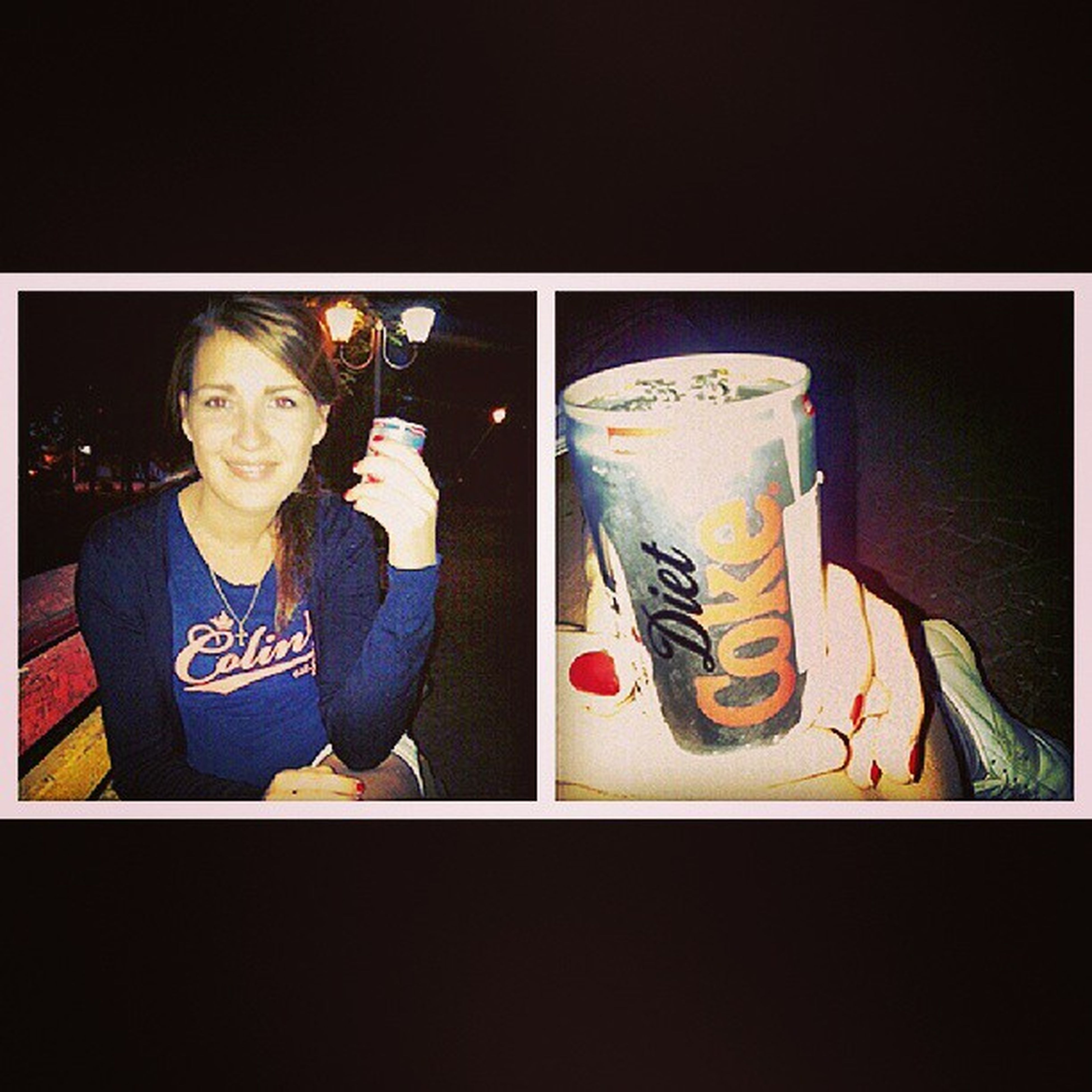 Настя за здоровый образ жизни)радуется с Diet Cola