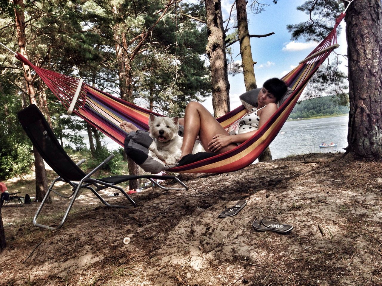 tree, full length, one animal, day, leisure activity, lying down, outdoors, animal themes, one person, real people, rope swing, sky, nature, young adult, mammal, people