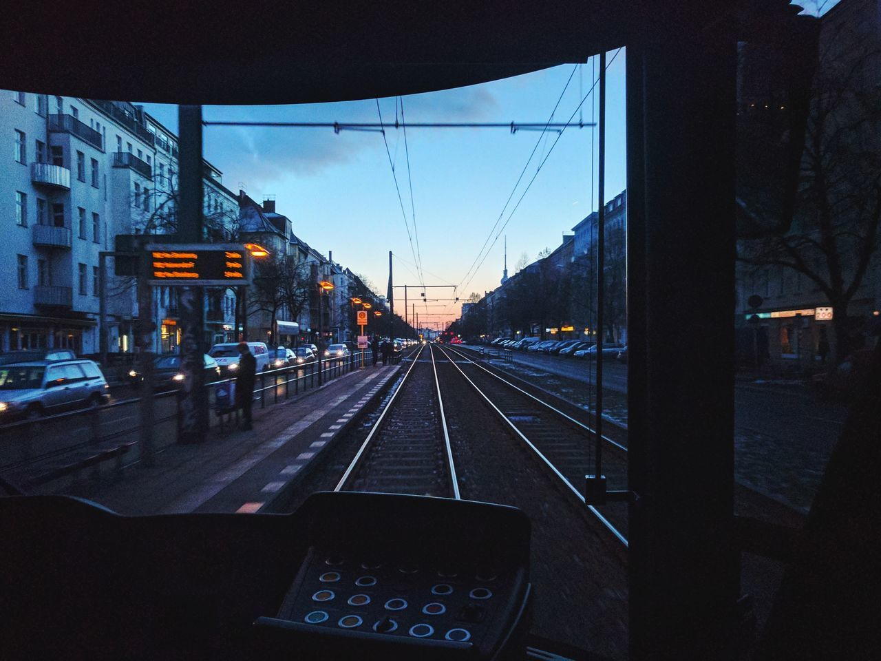 Transportation Sky Illuminated Rail Transportation Architecture The Way Forward No People Built Structure City Building Exterior Public Transportation Outdoors Day Prenzlauer Berg Berliner Ansichten Vanishing Point Fernsehturm Architecture Winter Berlin Tram Inside Commuting Commute Tracks