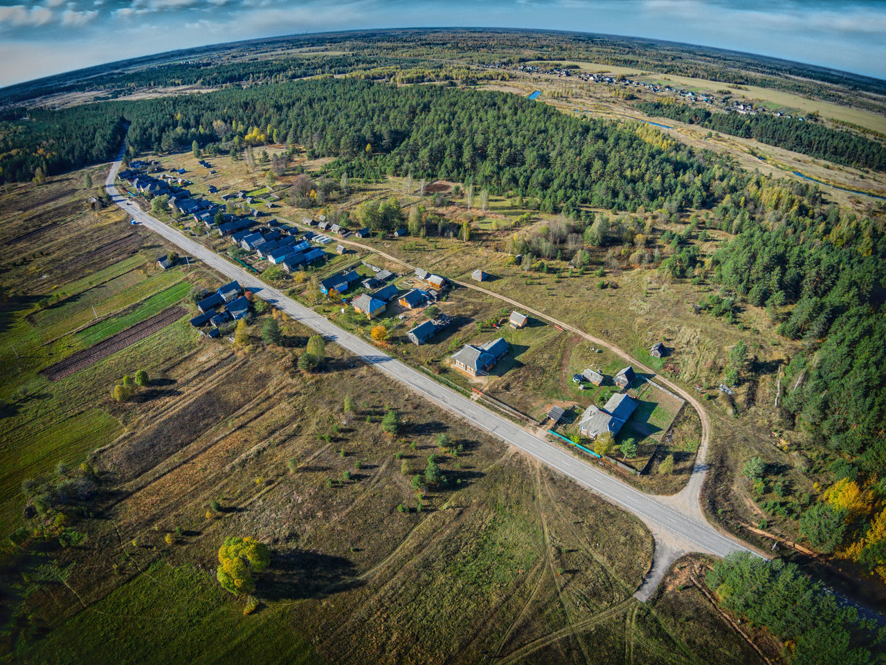 Village along the road. Maksatikhinsky District. One of the many villages Maksatihinsky district of Tver region. Aerial Shot Aerial View Beauty In Nature Countryside Day Drone  Dronephotography Farm Field Growth Landscape Nature No People Outdoors Patchwork Landscape Rural Scene Scenics Transportation Tree Village