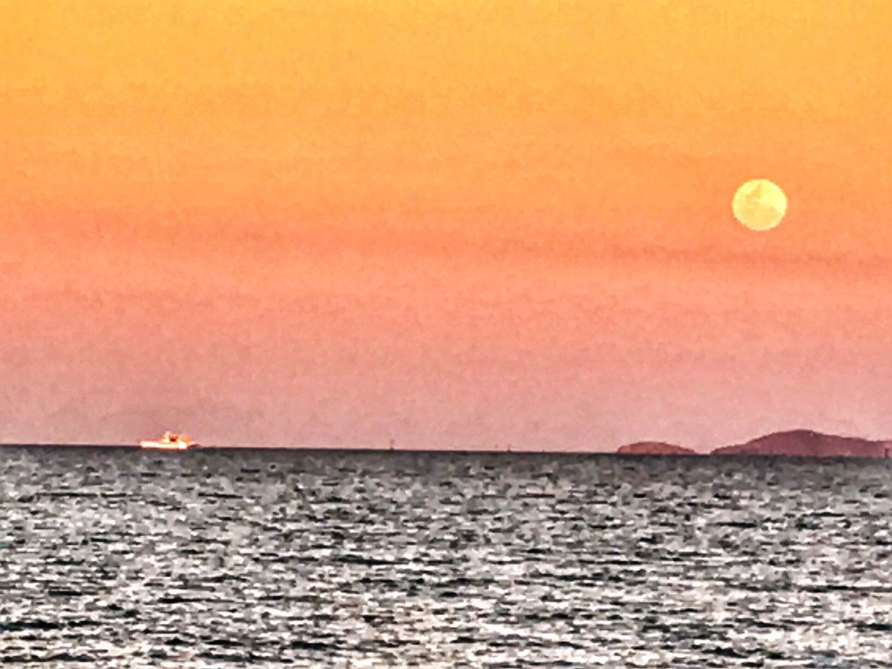 Tranquility Sunset Beauty In Nature Horizon Over Water Townsville, Queensland. Supermoon