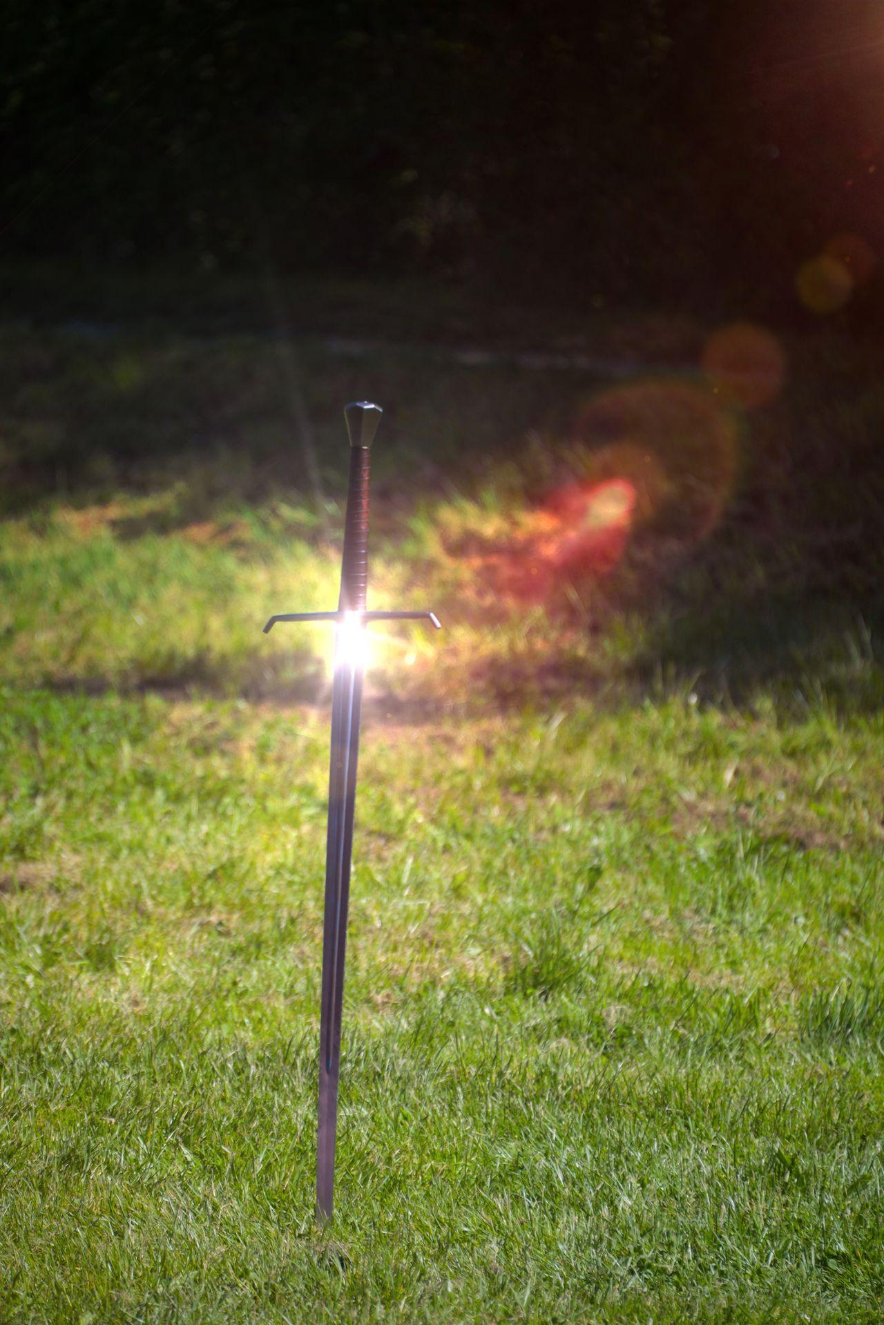 Grass Field No People Illuminated Outdoors Night Nature Close-up Épée Combat Fight Excalibur Medieval Surealism