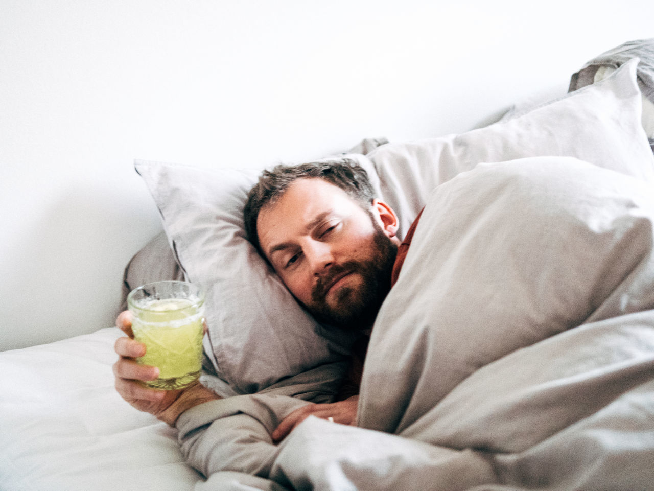 Beautiful stock photos of portrait, 30-34 Years, Beard, Bed, Blanket