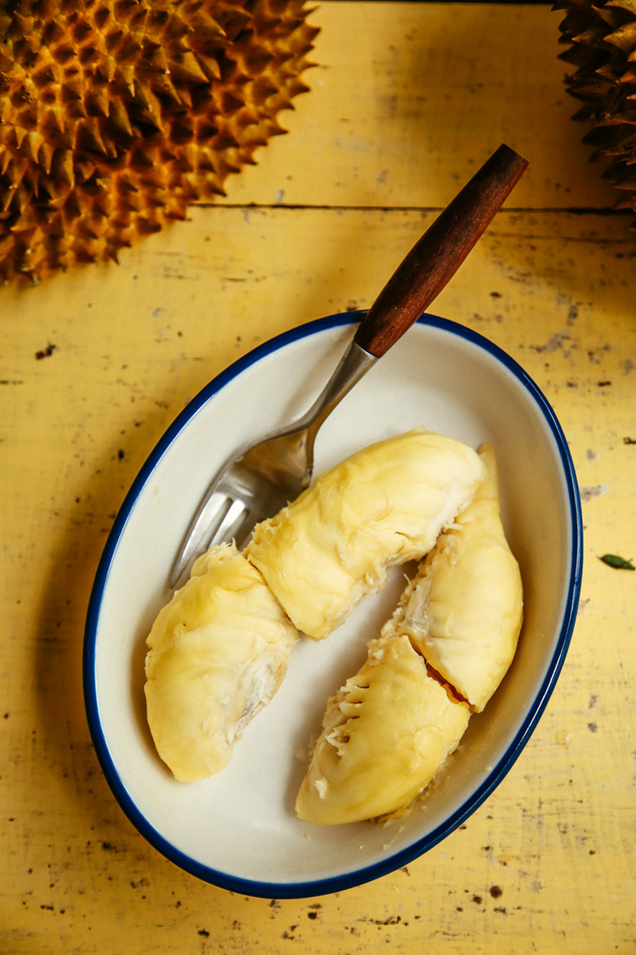 Durian is a pleasant fruit Bowl Close-up Dessert Directly Above Food Food And Drink Freshness Healthy Eating High Angle View Ice Cream Indoors  No People Ready-to-eat Sweet Food Table Yellow