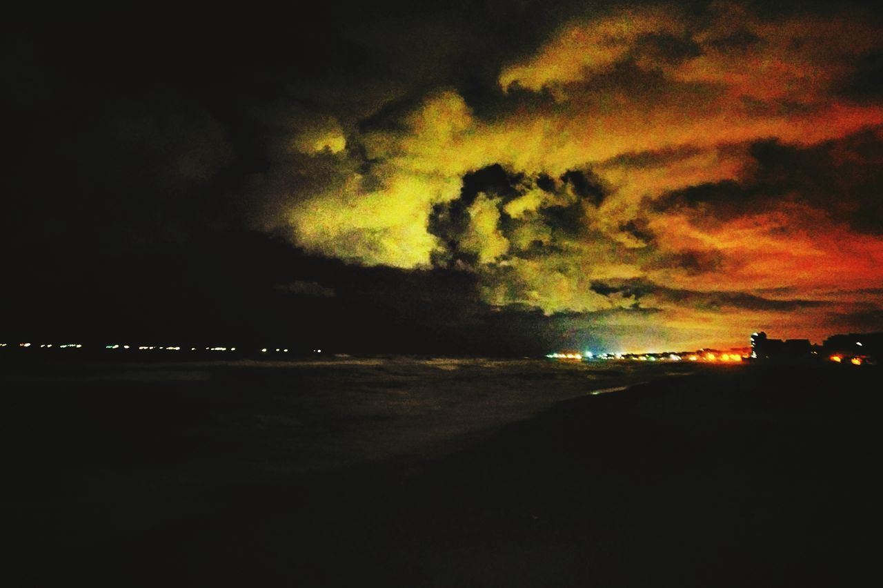 sky, night, nature, cloud - sky, illuminated, dramatic sky, beauty in nature, sunset, scenics, silhouette, storm cloud, outdoors, sea, tranquility, no people, water, lightning, thunderstorm, power in nature, forked lightning