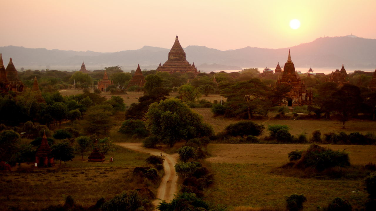 View Of Temples During Sunset