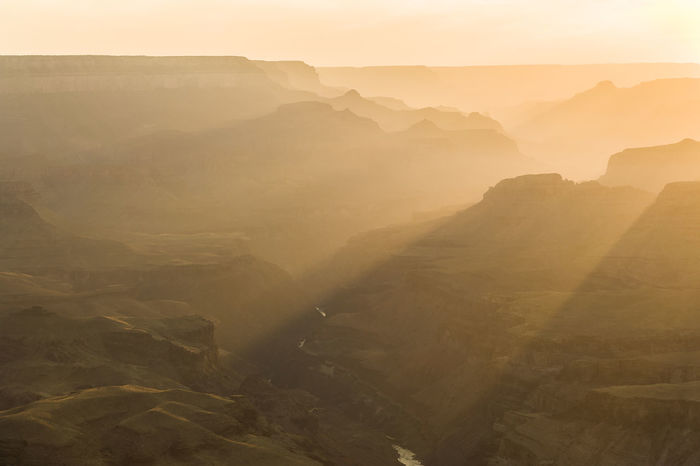 Grand Canyon, view from south rim at sunset. Geology Grand Canyon Landscape Misty Evening Mountains Nationalpark Silhouette South Rim Sunset USA Warm Colors Warm Light The Great Outdoors With Adobe